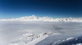 Winter alps mountains view on high snowy of mont blanc chain french les arcs march Royalty Free Stock Images