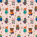 Winter animal seamless pattern Stock Photo