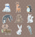 Winter animal  stickers Royalty Free Stock Photography