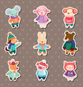 Winter animal stickers Royalty Free Stock Photos