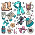 stock image of  Winter or autumn essentials, vector color sketch illustration. Hand drawn fashion clothing, fall accessories, hot drinks