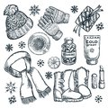Winter and autumn essentials, vector sketch illustration. Fashion clothing, fall accessories design elements