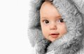 Winter baby beautiful girl wearing a fur coat Stock Photo