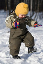 Winter baby stap against snow forest Stock Photography