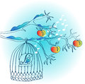Winter background with cage and bird Stock Image
