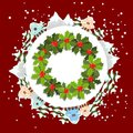 Winter background with christmas wreath Royalty Free Stock Image