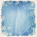 Winter background with falling snow grunge frame and old crumpled paper texture Royalty Free Stock Photography