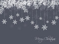 Winter background fir branches decorated with snowflakes on blue christmas illustration Stock Photo