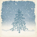 Winter background hand drawn fir tree on with falling snow grunge frame and old paper texture christmas Royalty Free Stock Images