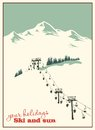Winter background. Mountain landscape with ski lift Royalty Free Stock Photo
