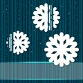 Winter background with paper snowflakes and flares Royalty Free Stock Images