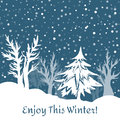 Winter background with snowflakes and trees