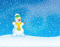 Winter background with Snowman Royalty Free Stock Photos