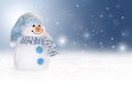Winter background with a snowman, snow and snowflakes Royalty Free Stock Photo