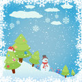 Winter background snowy with christmas tree and snowman illustration Royalty Free Stock Photo