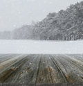 Winter background with wood planks in forefront Royalty Free Stock Photos