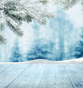 Winter background with wooden planks Stock Photo