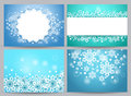 Winter backgrounds and banners vector set with snow flakes Royalty Free Stock Photo