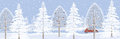 Winter banner landscape background with snowy trees Stock Photos