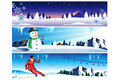 Winter banner a vector illustration of with copyspace Royalty Free Stock Photography