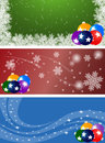 Winter banners set of with snow snowflakes and christmas decorations three Stock Image