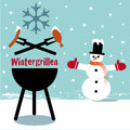 Winter bbq illustration snowman invites to grilling Royalty Free Stock Images