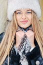 Winter beautiful girl face portrait outdoors Royalty Free Stock Photography