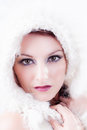 Winter Beautiful Woman in White Royalty Free Stock Photo