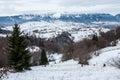 Winter beautifull landscape blue dramatic sky mountain scene mountain under in romanian carpathians fundata Royalty Free Stock Photo