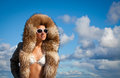 Winter beauty in fur coat glamorous woman with a sexy body wearing Stock Photo