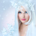 Winter beauty woman beautiful fashion model girl with snow hairstyle Stock Photography