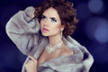 Winter beauty woman in luxury mink fur coat lady Stock Image
