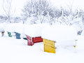 Winter bee hives covered by snow