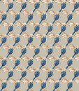 Winter Beige Garden Leaf Seamless Pattern. Tossed Hand Drawn Flower Petal Stem for Trendy Background. Steel Gray Cool Blue Muted Royalty Free Stock Photo