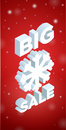 Winter big sale and big snowflake d banner on red background Royalty Free Stock Images