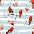 Winter Birds with Rowan Berries Retro Background - Seamless Pattern Royalty Free Stock Photo