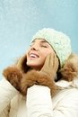 Winter bliss portrait of delighted girl in clothes Stock Photography