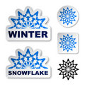 Winter blue snowflake stickers Royalty Free Stock Image