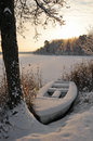 Winter boat Royalty Free Stock Photo