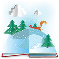 Winter book d paper pop up with scene eps transparency Royalty Free Stock Photos