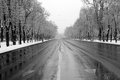 Winter boulevard aviatorilor from bucharest in a day at a time when traffic was low Royalty Free Stock Photo