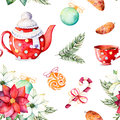 Winter bouquet,candy,teapot,cup of tea,pinecone,Christmas balls Royalty Free Stock Photo