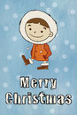 Winter boy merry christmas funny cartoon character and vector illustration Stock Photo