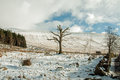 Winter in the brecon beacons a view of frozen landscape of wales Royalty Free Stock Photos