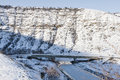 Winter bridge in mountains over ice river orhei vechi moldova Royalty Free Stock Photos