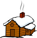 Winter cabin house with snow Royalty Free Stock Photo