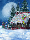 Winter candy house colorful scenery with a Stock Images