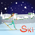 Winter card background. Ski run track, young woman running.