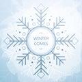 Winter Card With Beautiful Geometric Snowflake. Grunge Style Background.