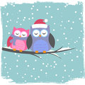 Winter card with cute owls Royalty Free Stock Photography